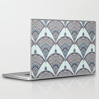 deco Laptop & iPad Skins featuring Deco Doodle in Aqua, Cream & Navy Blue by micklyn