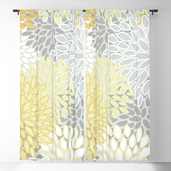Fl Blooms Pattern Yellow Gray And White Blackout Curtain By Meganmorrisart