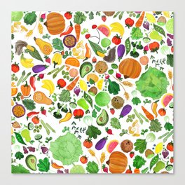 Fruit and Veg Pattern Canvas Print