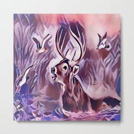 A 10 Point Deer Buck Crossing the Lake Metal Print