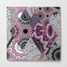 The national pattern in the patchwork . Purple Metal Print