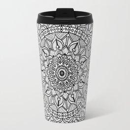 Circle of Life Mandala Black and White Travel Mug
