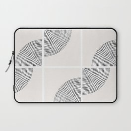Threads; Black, White and Neutral Tile Pattern Laptop Sleeve