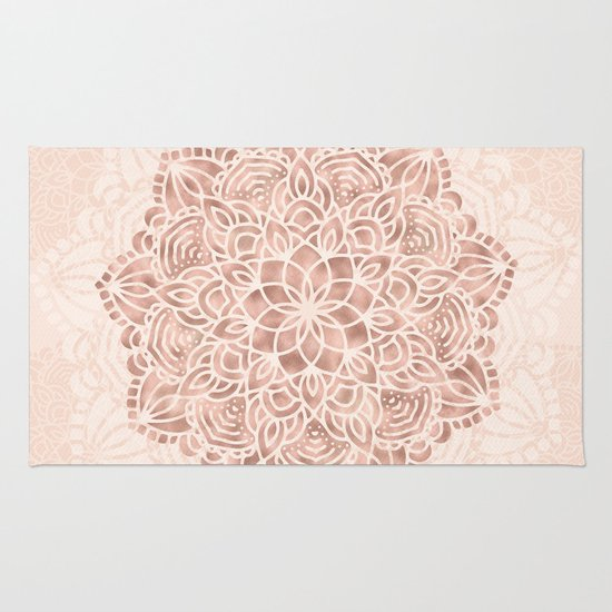 Mandala Seashell Rose Gold Coral Pink Rug By Nature Magick
