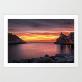 Spectacular sunset in Portovenere Art Print