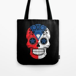 Sugar Skull with Roses and Flag of Czech Republic Tote Bag