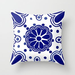 Classic Blue and White Talavera Throw Pillow