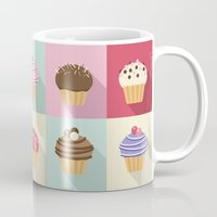 cupcakes Mugs featuring Cupcakes by Rosa Puchalt
