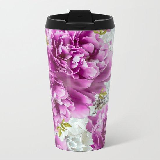 Summer bouquet of purple and white flowers - #Society6 #buyart Metal Travel Mug
