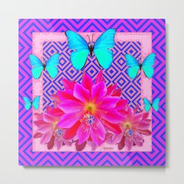 Fuchsia Orchid Flowers Turquoise Butterfly Patterns Metal Print
