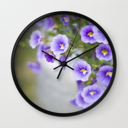 Violets in a Milk Churn Wall Clock