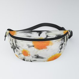 high contrast daisies pastel drawing Fanny Pack