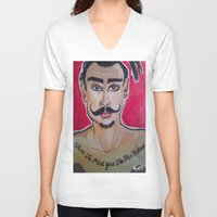 greg guillemin V-neck T-shirts featuring MOUSTACHED MODEL (GREG)  by Punkboy Marti