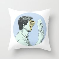 mask Throw Pillows featuring Mask by Señor Salme