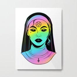 Satanic Nun. Bad Nun. holographic rainbow colors Metal Print