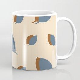 Blue leaves pattern on vanilla Coffee Mug