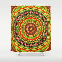 trippy Shower Curtains featuring Trippy mandala  by Mi Nu Ra