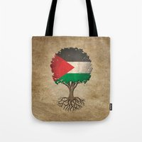 palestine Tote Bags featuring Vintage Tree of Life with Flag of Palestine by Jeff Bartels