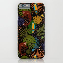 Jungle Pattern with Monkeys, Macaws and colorful Dart Frogs iPhone Case