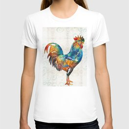 Colorful Rooster Art by Sharon Cummings T-shirt