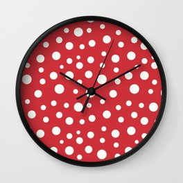 Beige circles of different sizes over red background seamless pattern Wall Clock