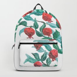 Persephone- Pomegranate Tree on White Backpack