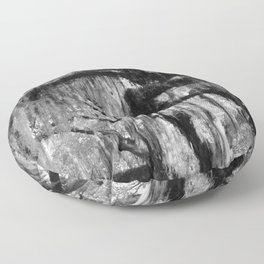 Oak and Moss in Black and White, Study 1 Floor Pillow