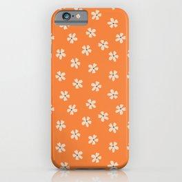 70s retro orange groovy grannie floral pattern iPhone Case
