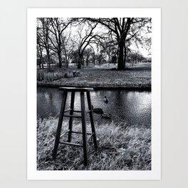 Stool - Black and White Art Print