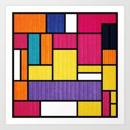 Mondrian Bauhaus Pattern #11 Art Print