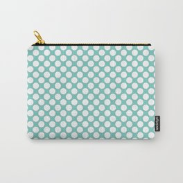 Polka dots - turquoise and white Carry-All Pouch