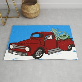 Pit Bull In Old Red Truck With Whimsical Christmas Tree Rug