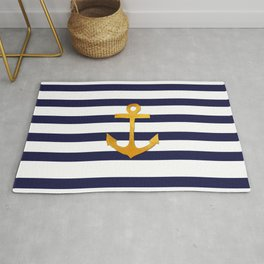 Marine pattern - blue white striped with golden anchor Rug