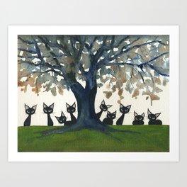Zibo Whimsical Cats Art Print