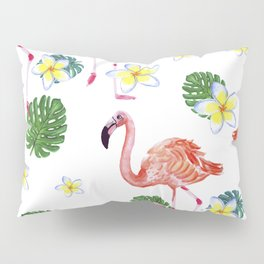 Patrones decorativos de flamencos y flores de acuarela Pillow Sham