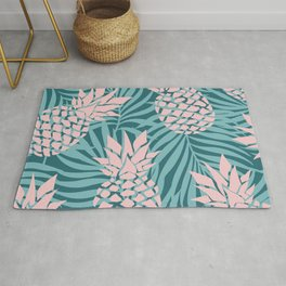Prints of Hawaii, Pineapple Art, Teal and Pink Rug