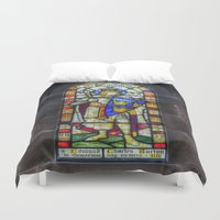 stained glass Duvet Covers featuring Stained Glass by Ian Mitchell
