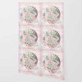 Pink Succulents Rose Gold Sun Blush Pink Wallpaper