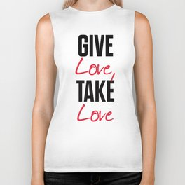 Give love, take love, tyopgraphy illustration, gift for her, people in love, be my Valentine, Romant Biker Tank