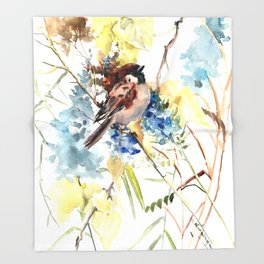 Sparrow in the Field Throw Blanket