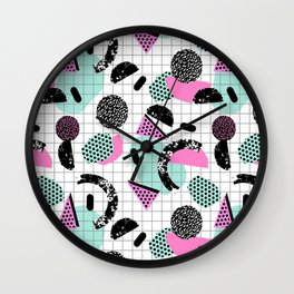 Joshin - memphis throwback retro pop art geoemetric pattern print unique trendy gifts dorm college Wall Clock