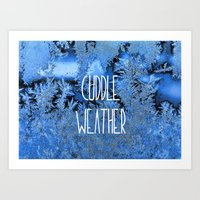 cuddle Art Prints featuring Cuddle Weather by ALLY COXON