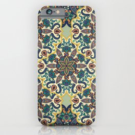 Colorful abstract ethnic floral mandala pattern design iPhone Case