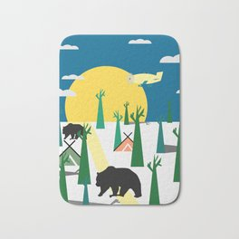 Bears in the forest and an airplane Bath Mat