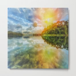 The Other Dimension Sunset Reflection  Metal Print