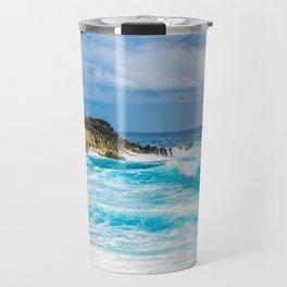 Turquoise Sea Waves Splash Travel Mug
