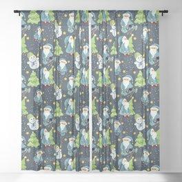 Christmas Winter Pattern Sheer Curtain