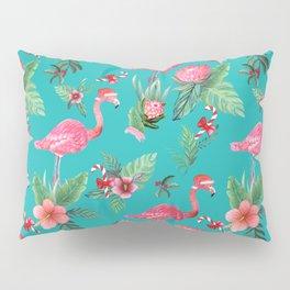 Santa Flamingo Christmas, Holiday Tropical Watercolor Pillow Sham