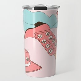 Chillin, Girl in Cowboy Boots with Hat in the Desert Enjoying Life Pastel Blush Pink and Mint Color Travel Mug