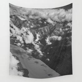 Aerial Alaska - B & W Wall Tapestry